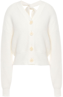 ADEAM Bow-detailed Cutout Ribbed Cotton-blend Cardigan