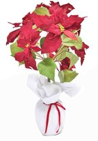 """Gold Eagle PP631C4N.RD 26"""" Artificial Small Red Poinsettia Plant with Fabric Wrap Pot"""