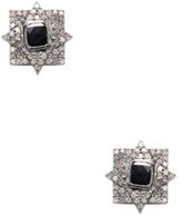 Artisan Elegant 18K Gold & 1.08 Total Ct. Black & White Diamond Stud Earrings