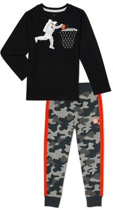 365 Kids From Garanimals Boys Long Sleeve Graphic T-Shirt & Jogger Sweatpants, 2-Piece Outfit Set, Sizes 4-10