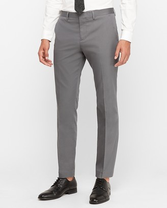 Express Slim Gray Cotton Sateen Stretch Suit Pant