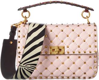 Valentino Spike.It Zebra Print Strap Medium Leather Shoulder Bag