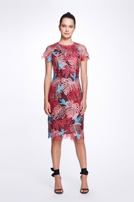 Marchesa Notte Short Sleeve Jewel Neck Multicolor Guipure Cocktail Dress