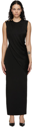 Balmain Black Draped Dress