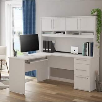 Symple Stuff Altha Plus L-Shaped Computer Desk with Hutch Symple Stuff Color: White