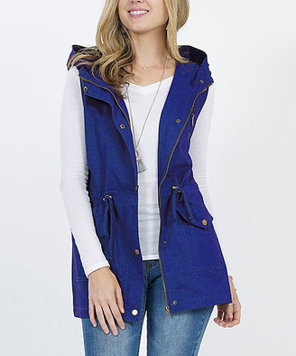 Lydiane Women's Outerwear Vests MIDNAVY - Mid Navy Hooded Military Pocket Vest - Women