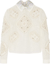Peter Pilotto Tundra crocheted and embroidered tulle top
