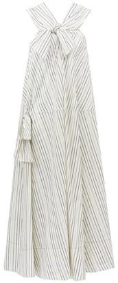 Ssōne Ssone - Bow Striped Cotton-blend Midi Dress - Womens - White/blue