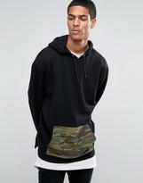 Asos Longline Hoodie With Camo Pocket