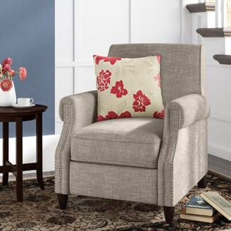 Three Posts Leyburn Manual Recliner Fabric: Sand Polyester Blend