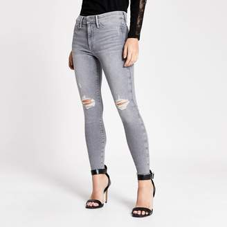 River Island Womens Petite Grey ripped Molly mid rise jeggings