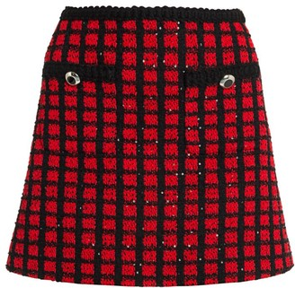 Miu Miu Tweed Check Sequin Mini Skirt