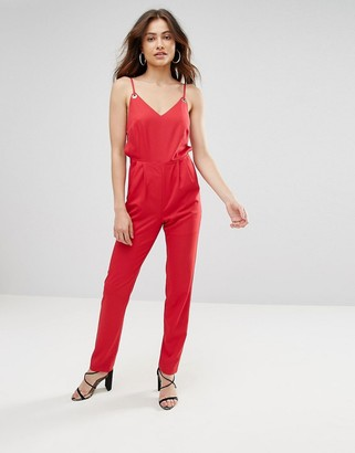 Jovonna London Kloss Cut Out Jumpsuit-Red
