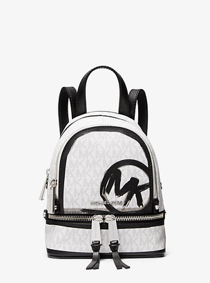 MICHAEL Michael Kors MK Rhea Mini Logo Backpack - White Combo - Michael Kors