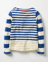 Sparkly Striped T-shirt Klein Blue/Gold Girls Boden