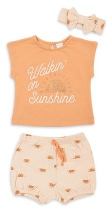 Pl Baby By Petit Lem PL Baby Girl T-shirt, Bubble Shorts, & Bow Headband, 3-pc Outfit Set