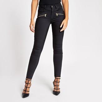 River Island Womens Black skinny zip front biker denim jeans