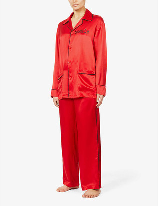 More Joy Special-print silk-satin pyjama set