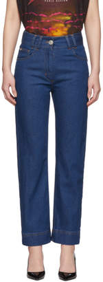Balmain Blue High-Waist Raw Jeans