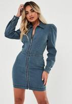 Missguided Petite Blue Denim Puff Sleeve Zip Front Dress