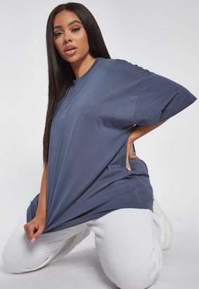 Missguided Plus Size Blue Drop Shoulder T Shirt