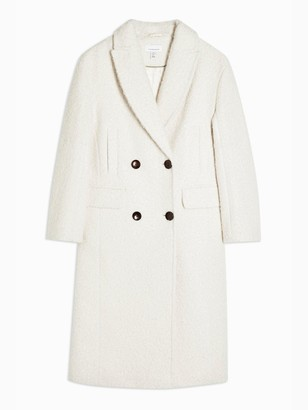 Topshop Tall Kim Boucle Coat - Ivory