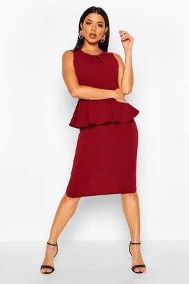 boohoo Peplum Sleeveless Midi Dress