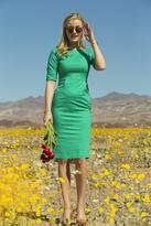 Shabby Apple Calla Green Stretch Poplin Fitted Dress Green