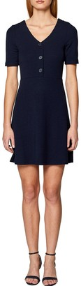 Esprit Buttoned V-Neck Dress with Short Sleeves