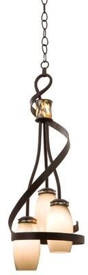 Monaco 3-Light Cluster Bell Pendant Kalco Finish: Antique Copper, Shade: Monaco Black Lip Side Shade