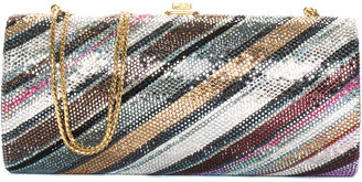 Judith Leiber Multicolor Crystal Striped Minaudiere Clutch