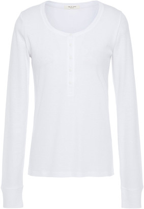 Rag & Bone The Rib Henley Cotton And Modal-blend Jersey Top