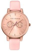 Ted Baker Women's 'Dress Sport' Multifunction Leather Strap Watch, 40Mm