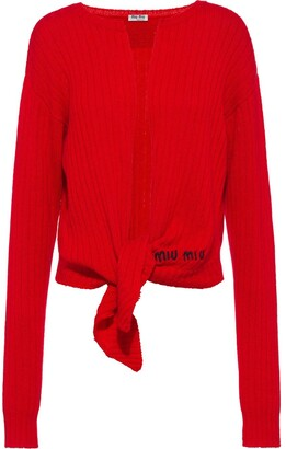 Miu Miu Ribbed-Knit Tie-Front Top