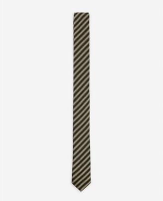 The Kooples Black silk tie with golden stripes