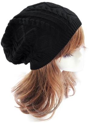 Koly Women's Winter Warm Hat Crochet Knitted Baggy Beanie Oversized Ski Cap (Black)