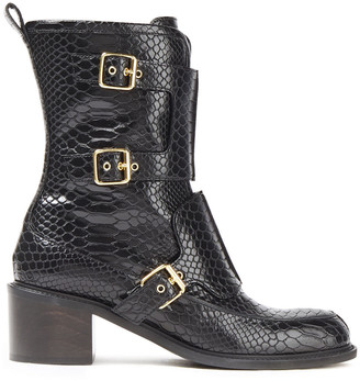 Stella McCartney Buckled Croc-effect Faux Leather Boots