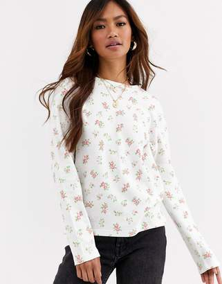 Daisy Street long sleeve top in floral print waffle-White