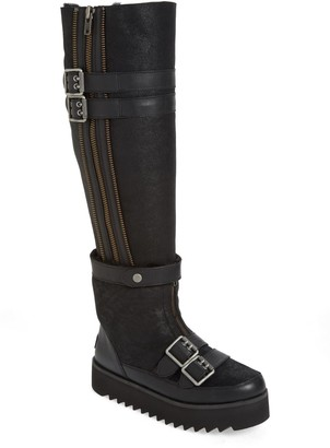 UGG Moto Punk Over the Knee Genuine Shearling Lined Boot