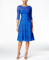 Sangria Sequined Illusion Lace Fit & Flare Dress