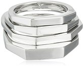 Vince Camuto Faceted Multi-Set of 4 Rhodium Stackable Ring, Size 4