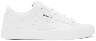 adidas White Vegan Leather PrimeGreen Sleek Sneakers