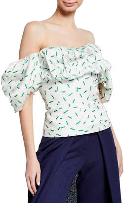 Hellessy Off-The-Shoulder Ruffled Bustier Blouse