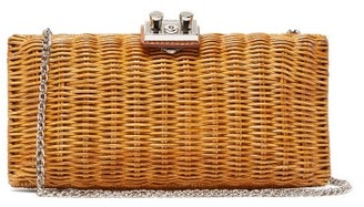 Rodo Leather-trimmed Wicker Clutch - Camel