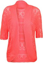 FashionMark Plus Size Women's Crochet Knitted Shrug Cardigan (Peach)
