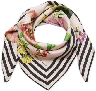 Dolce & Gabbana Floral-Print and Striped Silk Scarf