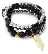 Good Charma Angel Wing & Black Onyx Bangles (Set of 4)