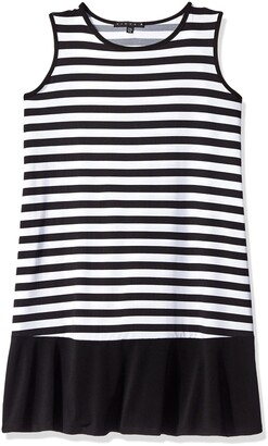 Tiana B T I A N A B. Women's Plus Sleeveless Striped Trapeze Dress with Solid Knit Bottom Band