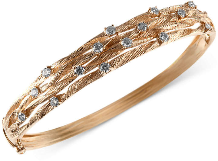 Effy D'Oro by Diamond Textured Bangle (1 ct. t.w.) in 14k Gold