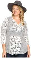 Lucky Brand Plus Size Placed Ditsy Print Top